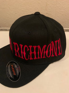 Black Flexfit Hat Red Writing