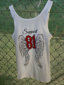 White tank with red writing and black outline