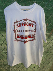 White t shirt with red barbed wire