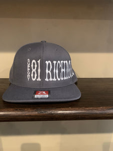 Grey flat bill snap back hat