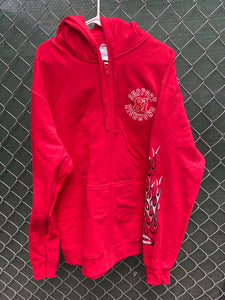 Red zip up hoodie with red and white flames on sleeve