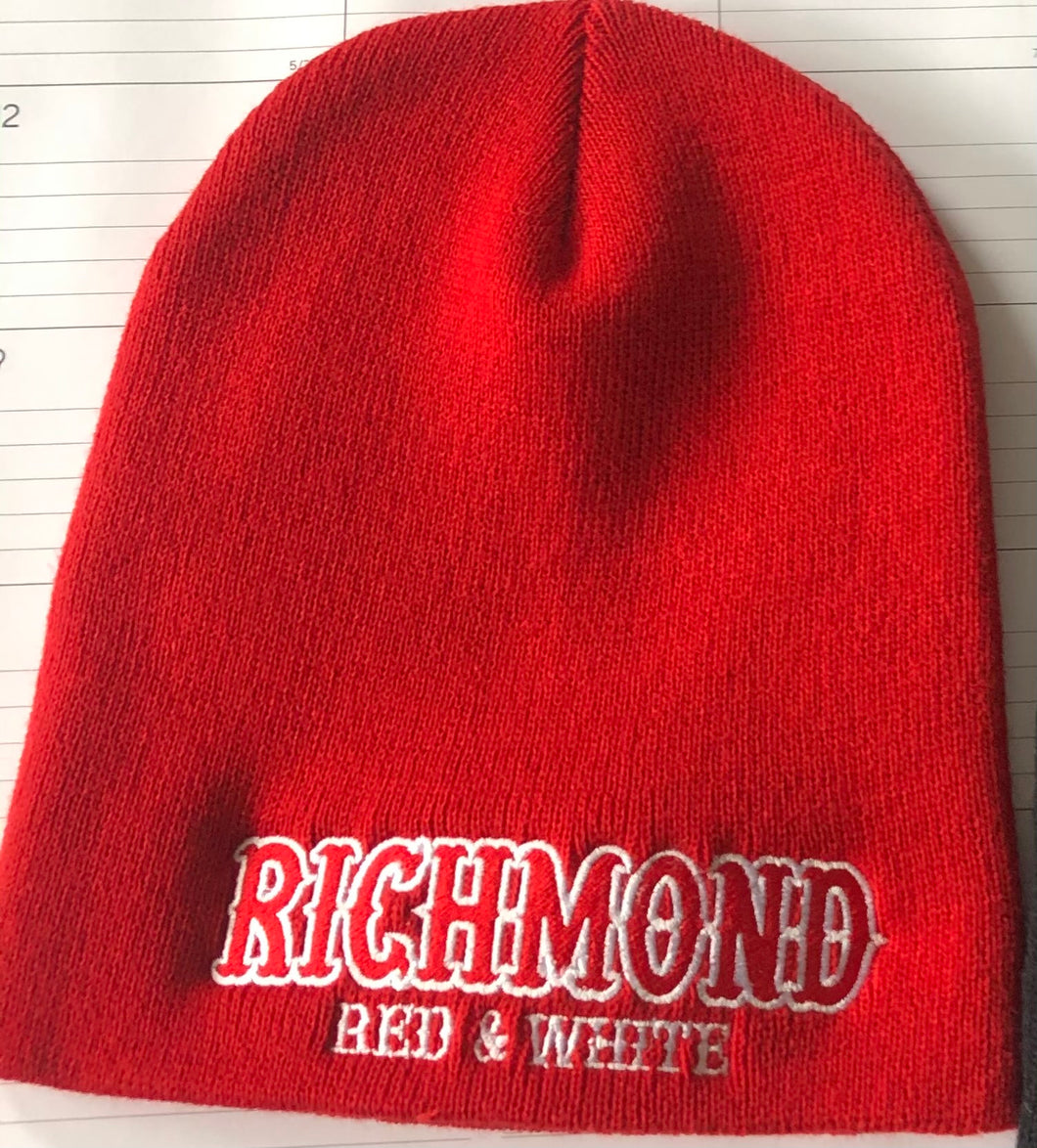 Red beanie with embroidered RICHMOND RED &WHITE on front