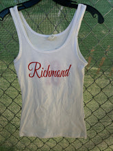 Load image into Gallery viewer, Women's white tank top with cursive richmond on front and wings on back