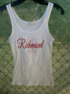 Women's white tank top with cursive richmond on front and wings on back