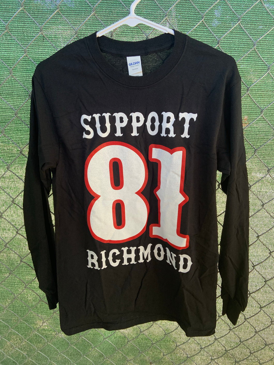 Men's Long sleeve black shirt with big support richmond on front