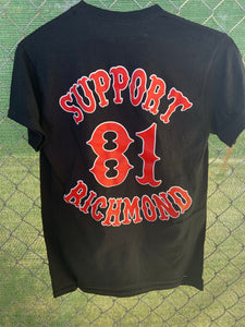 Black t shirt with red support 81 patch