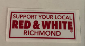 Support Your local Red and White Richmond Sticker