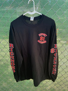 Men's black long sleeve with richmond down the arms