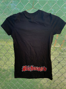 Black shirt sleeve with support richmond on front and Richmond on lower back