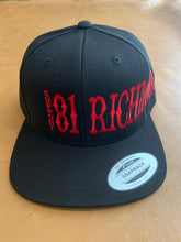 Load image into Gallery viewer, Black snap back hat with red writing