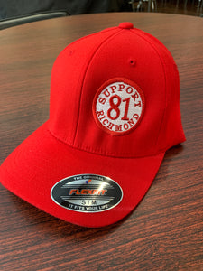 Red round Bill hat with support 81 richmond patch