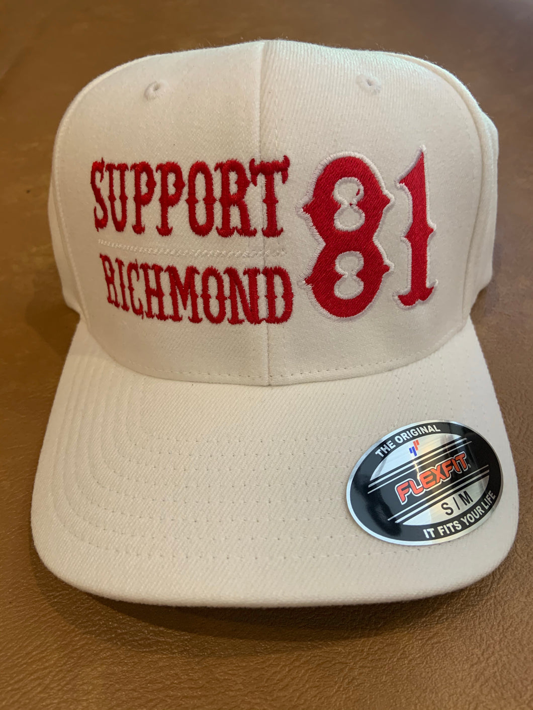 White flex fit hat Red Writing