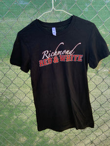 Black t shirt with richmond red and white on front