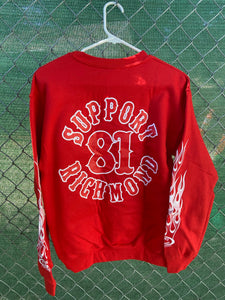 Red Crew Neck Pullover No Hood