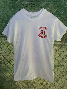 White t shirt red 81 patch