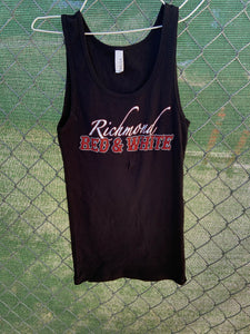 Women's black tank top with richmond red and white on the front