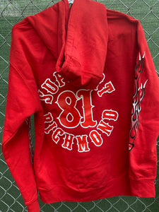 Red pullover hoodie with red and white flames on sleeves