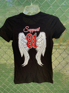 Black short sleeve with angel wings on back
