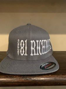 Grey and white flex fit hat with white writing