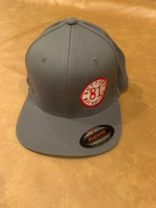 Grey flex fit hat with small support richmond 81 patch, one size fits all