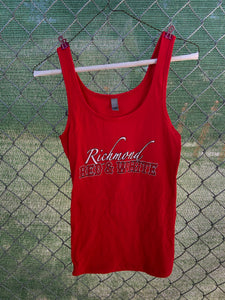 Women's red tank top with richmond red and white on front