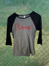 Load image into Gallery viewer, Women's grey and black baseball tee