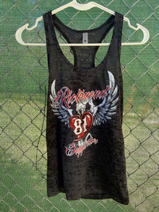 Women's Grey tank top with angel wings and heart