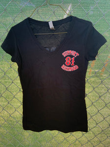Black v neck with support richmond 81 patch