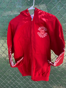 Red zip up screen print with hood