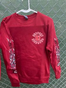 Burgundy crew neck with red and white flames