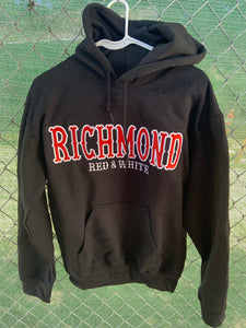 Black hoodie with richmond red and white embroidered