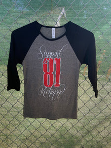 Women's black sleeve grey front baseball t
