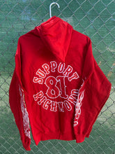 Load image into Gallery viewer, Red zip up screen print with hood