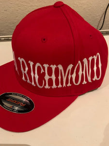Red Flexfit Hat White Letters