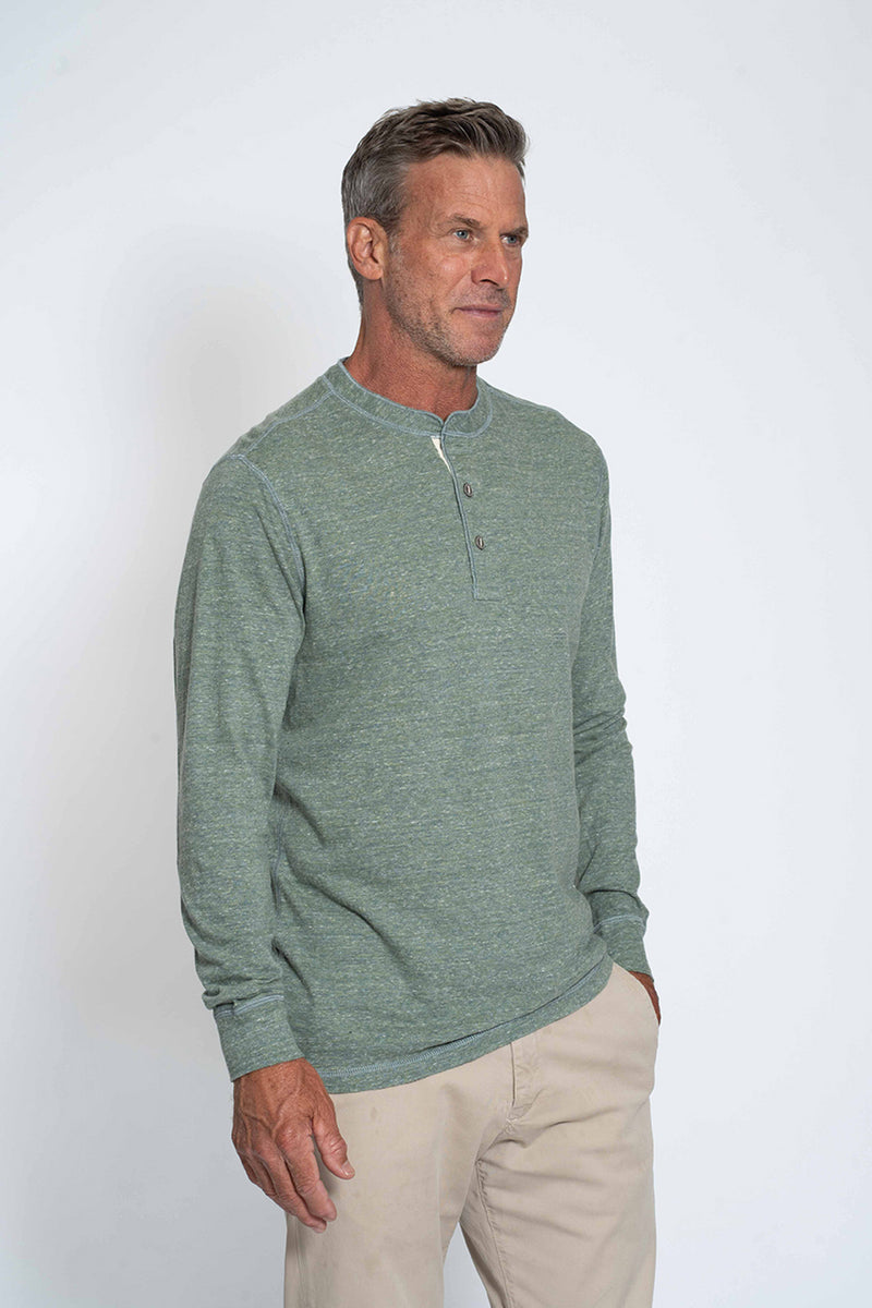 Melange Heather Slub Knit Long Sleeve Henley