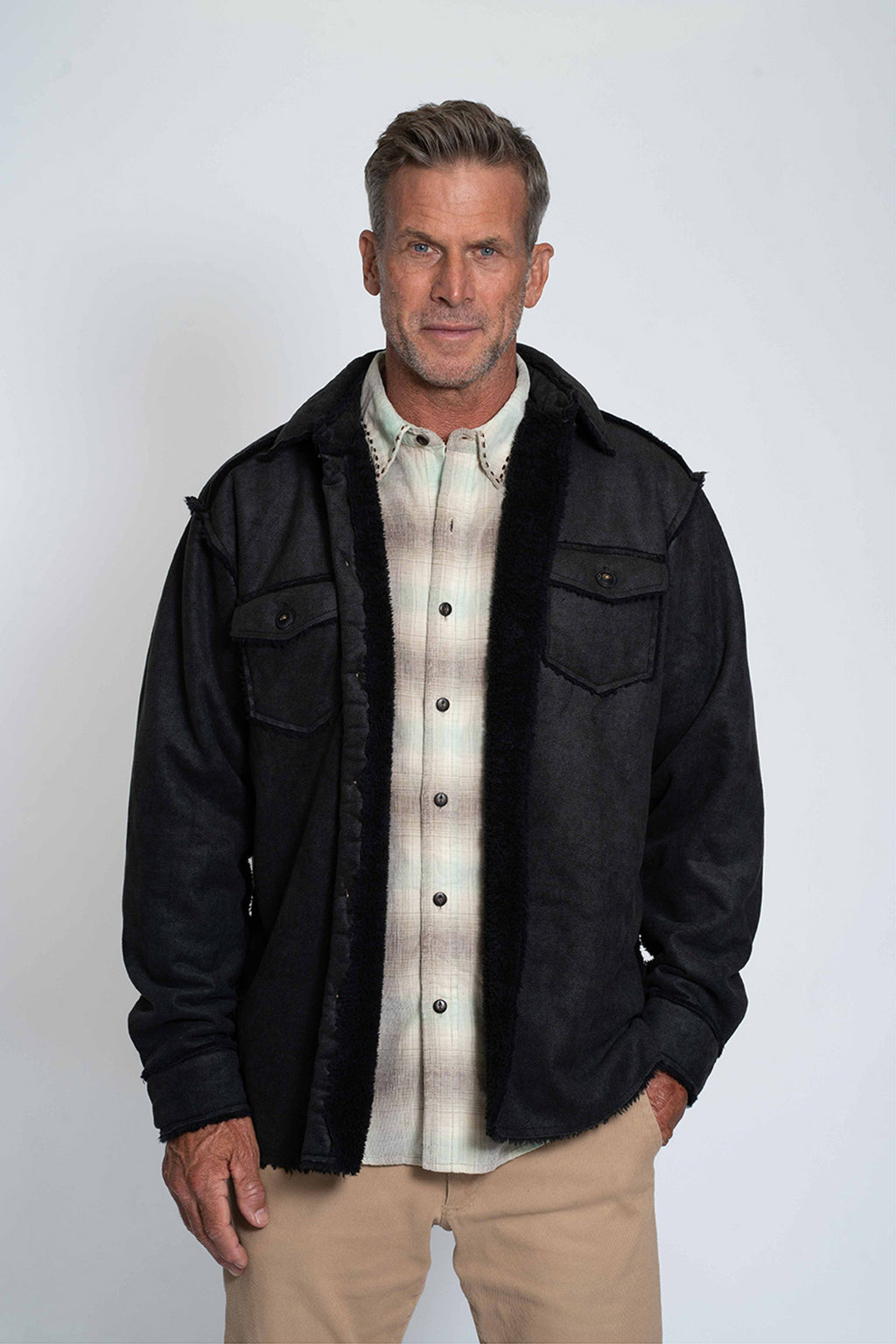 Pebble Sueded Button Jacket