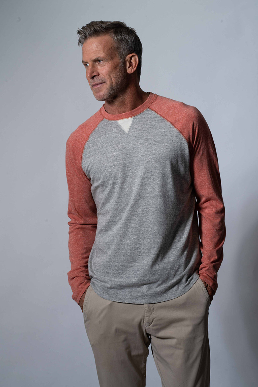 Melange Heather Slub Knit Raglan