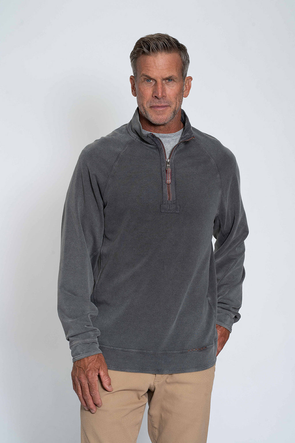 Cashmere Heather Zip Raglan Pullover