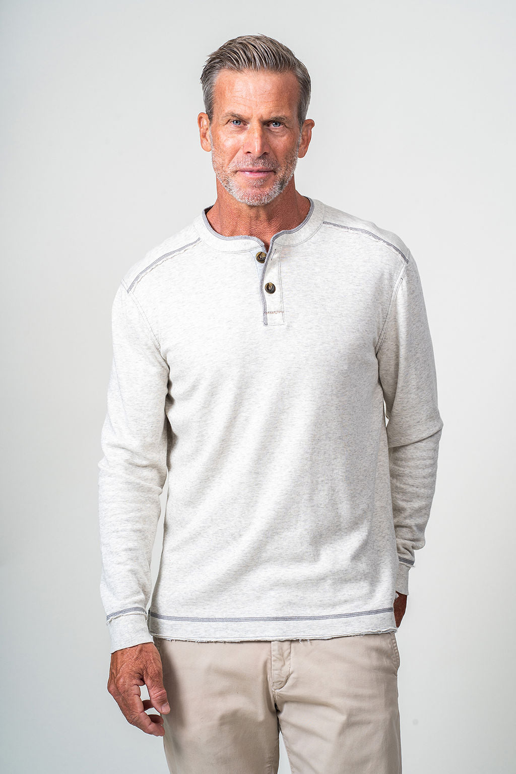 Double Layer Knit Long Sleeve Henley