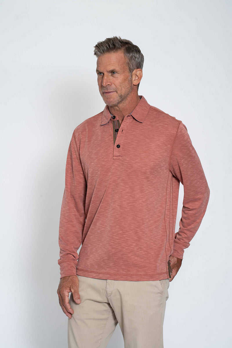 Sueded Modal Long-Sleeve Polo