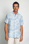 Faded Indigo Linen Floral Short-Sleeve