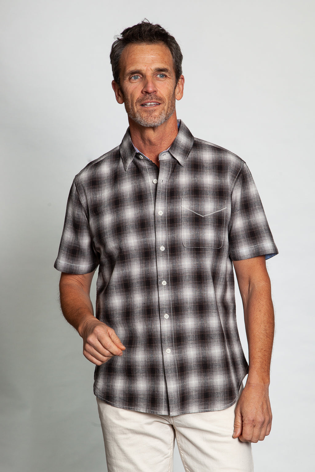 Melange Linen Short-Sleeve Shirt