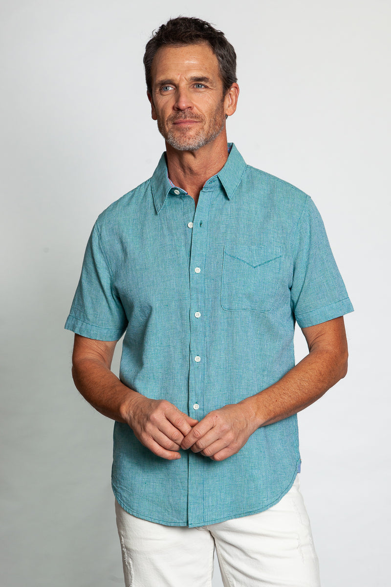 Fresh Plaid Short Sleeve 1 Pocket Shirt