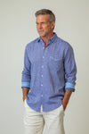 Washed Melange Linen Long-Sleeve Shirt
