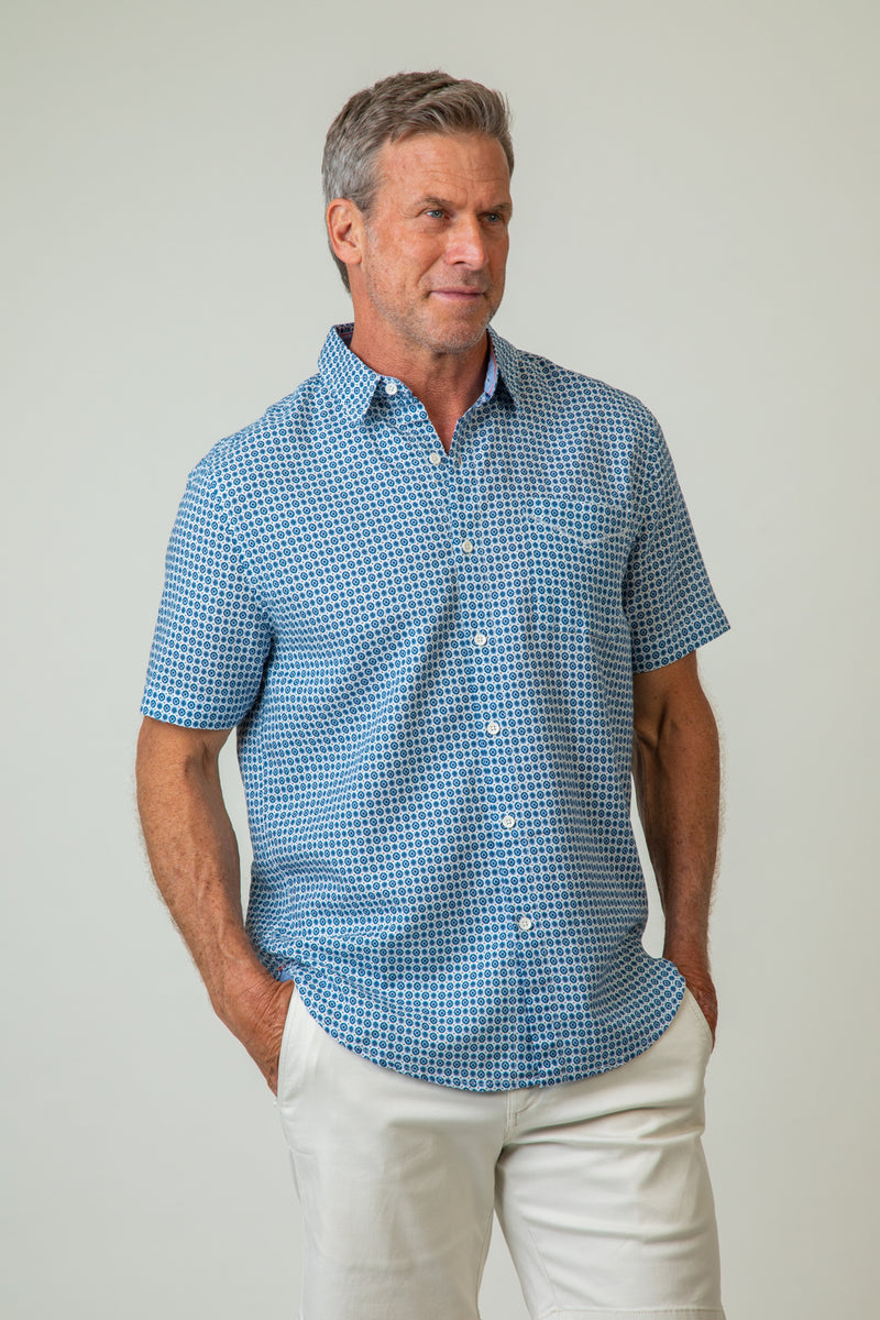Ikat Short-Sleeve One-Pocket Shirt
