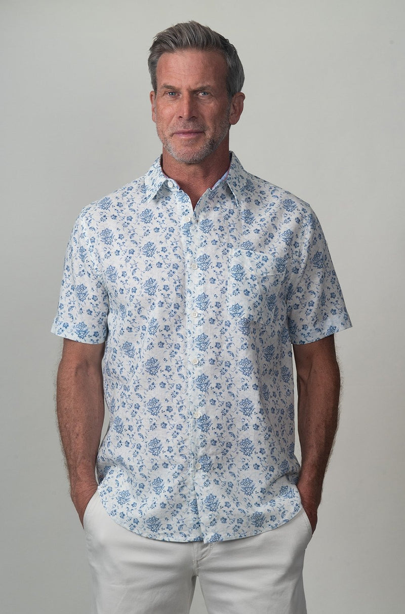Vintage Floral Short-Sleeve Shirt