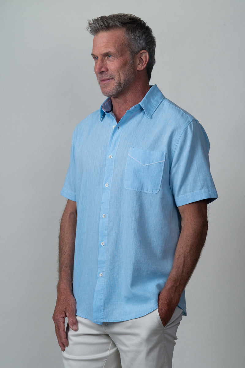 Washed Melange Linen Short-Sleeve Shirt