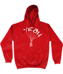 This red hoodie is soft, smooth and stylish. It is the perfect choice for the cooler evenings, the early morning jump of when you want a bit extra. It has soft cotton faced fabric, double fabric hood with self colour drawstring and front pouch pocket. It has 'YEAH BUDDY' shaped as a skydiver printed on front.