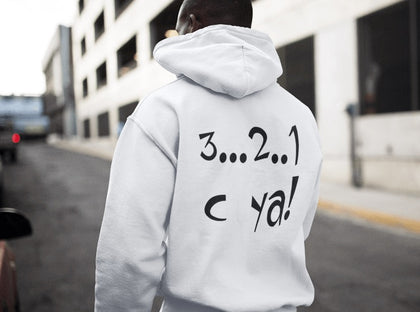 White zoodie with print on the back. This 321 cya unisex hoodie is just right when you need a little bit extra. It has a modern fit, hood, kangaroo pocket and front zip. It has soft cotton faced fabric and double fabric hood with self colour drawcord. The zip is a covered full length with self colour twill tape puller. A very comfortable hoodie that is a well worth buy!