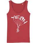 A great womens skydiver tank top in red with print of 'YEAH BUDDY' formed as a skydiver. It has a fitted style and consists of 100% organic ring-spun combed cotton. It is available in several colours and is a brilliant choice for the warmer days or under a zoodie!